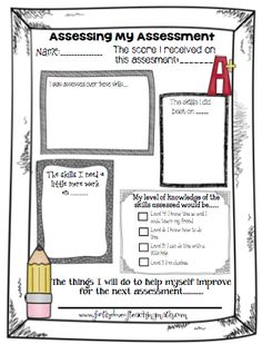 I think that the seventh graders will get a lot out of doing this after assessments! A great freebie for having students reflect on an assessment. A great resource for incorporating the Marzano model. Student Self Assessment, Assessment For Learning, Student Data, Formative Assessment, Instructional Strategies, Teaching Strategies, Teaching Tips, Teaching Math, Teacher Tools
