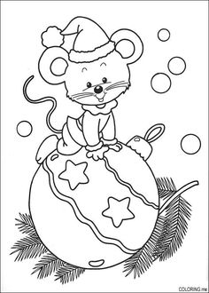 Christmas mouse on ornament (tree, hat, coloring, outline, black and white)