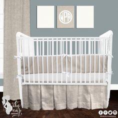 Tan & White Neutral Linen Gender Neutral Baby Crib Bedding Set
