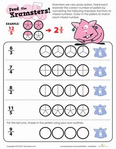 First Page of Improper Fractions and Mixed Numbers Worksheet LEVE ...