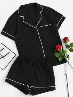 Cheap piece set, Buy Quality two set directly from China set short Suppliers: SHEIN Contrast Piping Pocket Front Pajama Set Black Short Sleeve Lapel Top With Elastic Waist Shorts Womens Two Piece Sets Cute Sleepwear, Loungewear, Pajama Outfits, Cute Outfits, Casual Outfits, Look Fashion, Fashion Outfits, Gothic Fashion, Fashion Women