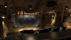 Home theater that doubles as the bat cave?! We're in! #interiordesign #batman #comics #mancave