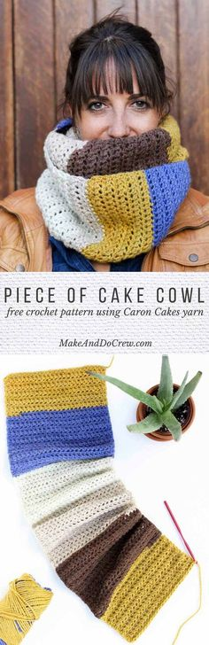 "This easy, modern ""Piece of Cake Cowl"" is going to become your go-to accessory for fall and winter! Plus, this Caron Cakes Yarn free crochet pattern is simple to make even if you're not an experienced pattern-reader. Simple one-skein crochet project in Caron Cakes color ""Blue Icing."" via @makeanddocrew"