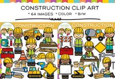 Construction clip art that can be used in worksheets and so much more. This construction clipart set is packed with 64 images, which includes 32 color images and 32 black & white images in png. All clipart images are 300dpi for better scaling and printing.