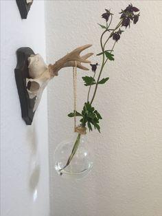 Elpære fra min datters lampe blev til hængende vase❤️