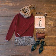 Layered Knit Jumper & Boucle H Skirt & Check Wool Muffler & Leather Bag and Mary Jane Shoes all online now ;). #kinfolk #checkscarf #style #jumper #love