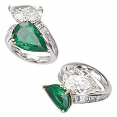 "Special Gem Collection Platinum Ring featuring a ""toi-et-moi"" Pear-shaped Colombian Emerald and Pear-shaped Diamond, each weighing over 5cts. shown in two views by Picchiotti"