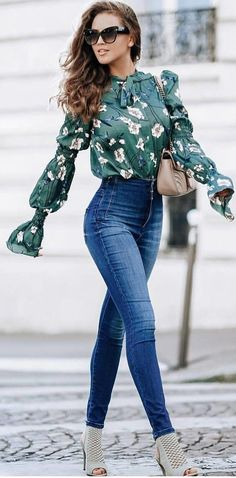 13ecaa0a72b  spring  outfits woman in green and white floral long-sleeved blouse and  blue