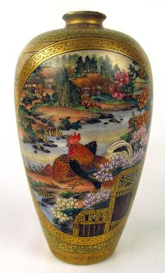 Satsuma rooster vase. 7,950 dollars on eBay✖️More Pins Like This One At FOSTERGINGER @ Pinterest✖️