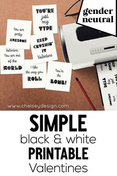 These Simple Black & White Printable Valentines are easy on your printer AND gender neutral! Perfect for any age and any gender. Six simple designs included in your instant download.  #genderneutral #printablevalentines #simplevalentines #diyvalentines Letter Size Paper, 4 Kids, Pretty Cool, Gender Neutral, I Got This, Simple Designs, Printer, Cards Against Humanity, Valentines