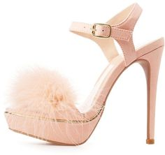 7534bafb69b Charlotte Russe Feather Two-Piece Platform Sandals