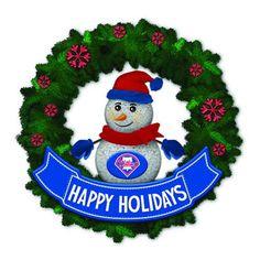 Philadelphia Phillies 15in Light-Up Snowman Wreath