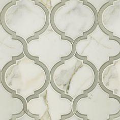 "Toledo Lucido Glass and Stone Water Jet Mosaic  10"" X 11-3/4"" X 3/8"" (0.82 SF) interlocking sheets"