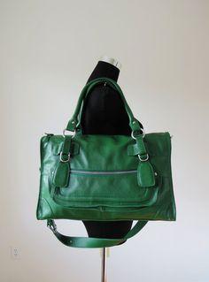 Leather satchel CLEO green / leather bag / leather shoulder bag / leather purse