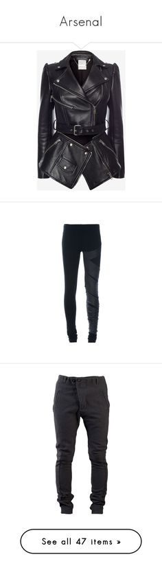 """""""Arsenal"""" by black-ocean12 ❤ liked on Polyvore featuring outerwear, jackets, coats, tops, alexander mcqueen, black, leather biker jacket, motorcycle jacket, biker jackets and leather jackets"""