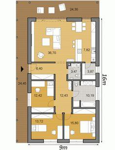 Modern House Floor Plans, Bungalow House Plans, Small House Plans, House Layout Plans, House Layouts, Casa Loft, Apartment Floor Plans, Dome House, Cottage Plan