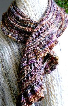 Ravelry: caramora's Cascading Scarf in Piedras - shown in DK weight, other examples in other weights