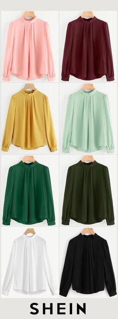 Pleated Detail Button Keyhole Back Chiffon Blouse