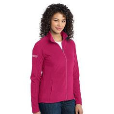 """A Women's Micro-Fleece Jacket with Embroidered """"Respiratory Therapist"""" Logo on the Right Sleeve."""