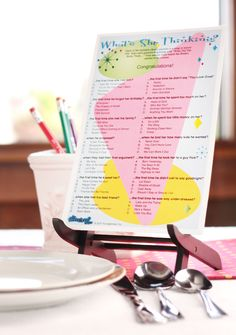 What's She Thinking? Love this retro-looking bridal shower game!