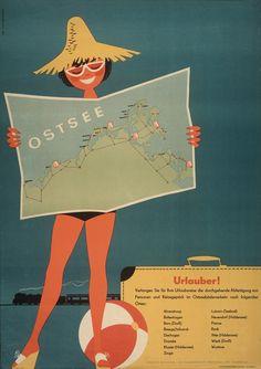 Werbung für die Ostsee, 1961 East German Vintage Ad DDR Werbung Reklame