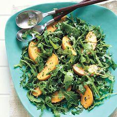 Arugula and Peach Salad with Creamy Chive Vinaigrette  Read More http://www.bonappetit.com/recipes/2007/08/arugula_and_peach_salad_with_creamy_chive_vinaigrette#ixzz1Ojz6W5cR