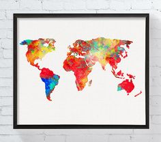 Canada map watercolor map canada wall art canada poster canada world map art world map print watercolor world map world map poster office decor dorm decor bedroom decor world map painting framed gumiabroncs Choice Image