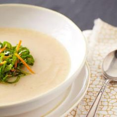 In this Creamy Turnip Soup Recipe, the humble turnip is transformed into a rich turnip soup made creamy with just 1 tablespoon of butter. Serve it as a starter or side soup. The mini salad on top is optional, but we love the bit of texture from the greens and pop of flavor from the vinaigrette. @EatingWell Magazine