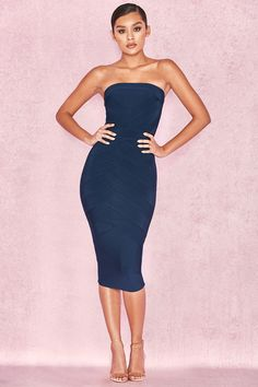 Clothing   Bandage Dresses    Amoura  Midnight Blue Strapless Bandage Midi  Dress Robes À dce8d3837fe5