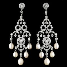 Extraordinary CZ and Freshwater Pearl Chandelier Wedding Earrings - Affordable Elegance Bridal -