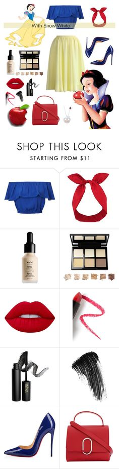 """""""With Snow White"""" by alyssa-re ❤ liked on Polyvore featuring Miss Selfridge, Lulu in the Sky, NYX, Lime Crime, Lapcos, INIKA, Eyeko, Christian Louboutin, 3.1 Phillip Lim and Disney"""