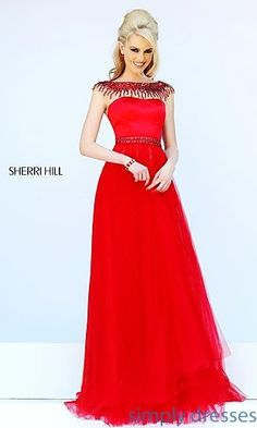 Long High Neck Dress with Cap Sleeves by Sherri Hill at SimplyDresses.com