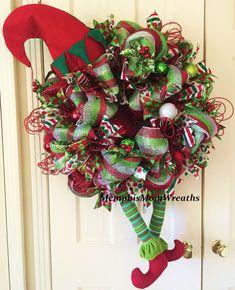 Elf Legs Deco Mesh Wreath  Deco Mesh Wreath  by MemphisMomWreaths