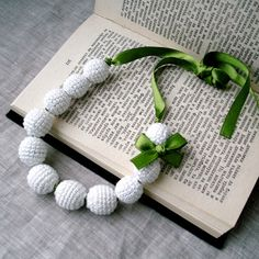 White Crochet Beads Necklace - Children Necklace - Crochet Jewelry - Bridal Soft Cotton Necklace