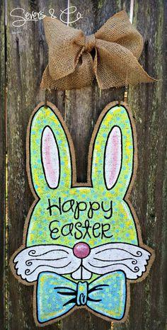 Bowtie Bunny burlap door hanger by Severs & Co. $40+shipping.