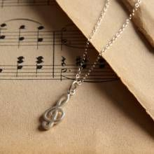 Lily Charmed Silver Treble Clef Necklace