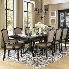 Create your ideal formal dining room with this HomeVance Glendale dining set. In deep espresso. Dining Room Sets, Dining Room Design, Dining Room Furniture, Dining Chairs, Arm Chairs, Rustic Furniture, Furniture Logo, Cabinet Furniture, Office Chairs