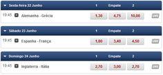 Apostas Euro#2012  Quartos-de-final Alemanha, Grécia, Espanha, França, Inglaterra, Itália