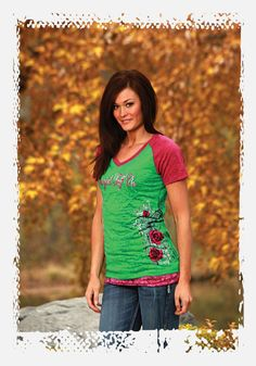 Green burnout baseball tee with pink sleeves and print by Cowgirl Tuff Co. | Fall 2012