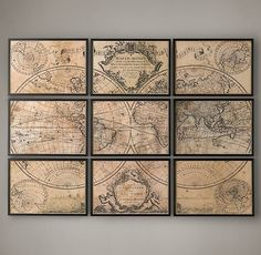 This Is Pretty Cool Idea For An Inexpensive Wall Print Restoration Hardware Map