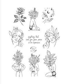 Line Art Tattoos, Tattoo Flash Art, Tattoo Drawings, Body Art Tattoos, Art Drawings, Tatoos, Cute Tiny Tattoos, Dainty Tattoos, Mini Tattoos