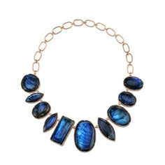 Irene Neuwirth One of a Kind Necklace with Mixed Shape Cabochon Labradorite on a Large Link Chain