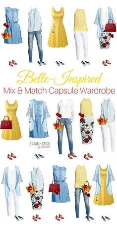 Mix & Match Belle-inspired Outfits Belle-inspired outfits to last all week! This Disney bounding-style wardrobe board has affordable and classy options for the Disney loving grown up, with beautiful pops of yellow and rose accessories Princess Inspired Outfits, Disney Princess Outfits, Disney Themed Outfits, Disney Inspired Fashion, Character Inspired Outfits, Disney Bound Outfits Casual, Disney Fashion, Disney Character Outfits, Punk Fashion