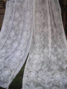 ANTIQUE VINTAGE 1920s VICTORIAN COTTON LACE CURTAINS 66 X 128 SHABBY CHIC in Antiques, Fabric/ Textiles, Lace/ Crochet/ Doilies   eBay