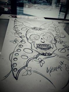 #skull#tattoo#tatouages#ink#pencil#blackandgrey#sketching#mexicanskull