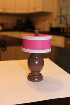 DIY American Girl Side Table Lamp...looking at this - $1 store plastic or cheap wood chess pieces would make great lamp bases! A lightweight napkin ring or paper glued to thin cardstock for the lamp shade...kj)