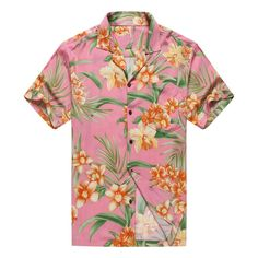 Premium Made in Hawaii Men's Hawaiian Shirt Aloha Shirt Floral Pink Orange