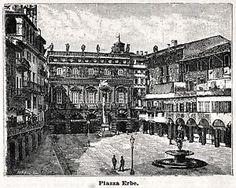 Verona antica,  stampa con Piazza Erbe