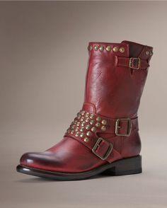Frye Women's Jenna Studded Short Boot - Burnt Red