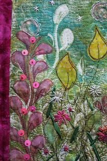 This is one that I did in the same printing session that has been stiched, quilted and embellished. Again the background white plant was done by removing paint from the Gelli with the paintbrush.
